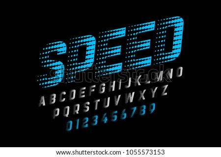 Speed style font, alphabet and numbers, vector illustration
