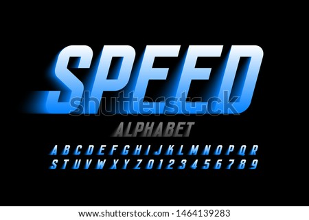 Speed style font design, alphabet letters and numbers vector illustration