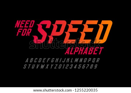 Speed style font, need for speed alphabet letters and numbers vector illustration