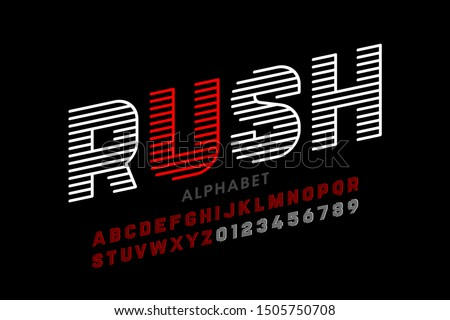 Speed style linear font, alphabet and numbers, vector illustration