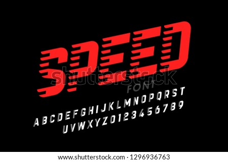 Speed style modern font, alphabet letters and numbers vector illustration