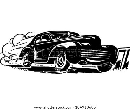 Speeding Car Retro Clipart Illustration