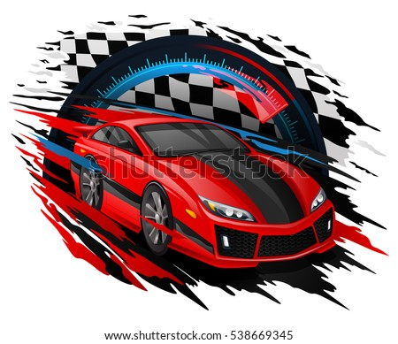 speeding race car with abstract