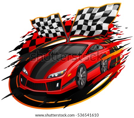 Speeding Racing Car With Checkered Flag U0026 Racetrack Design