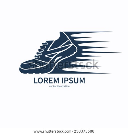 Speeding running sport shoe symbol, icon or logo. Vector illustration