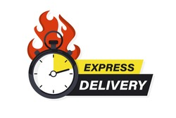 Speeding stopwatch on fire with inscription express delivery. Sticker, Fast delivery. Timer and express delivery. Urgent shipping services. Online delivery, quick move. fast distribution service 24 7