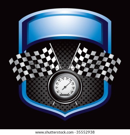 speedometer and checkered flags on blue display