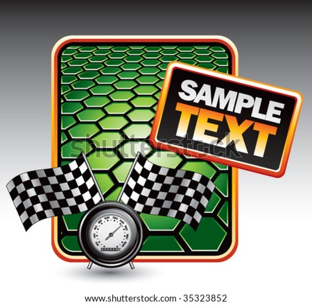 speedometer and checkered flags on green hexagon banner