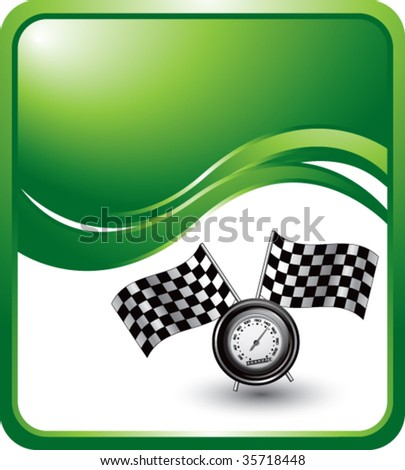 speedometer and checkered flags on green wave backdrop