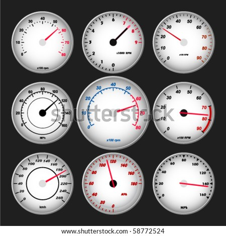 Speedometer and RPM gauge set