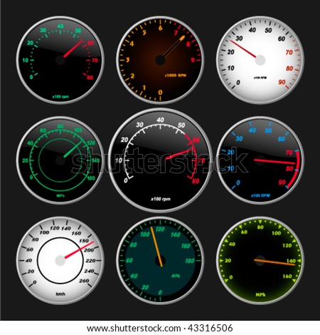 Speedometer And RPM Gauge Set Vector Also Available In Raster