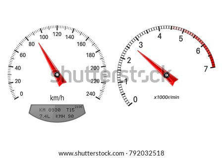 Speedometer and tachometer scales. On white background. Vector illustration