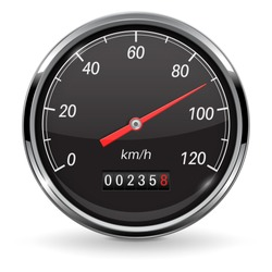 Speedometer. Black car dashboard gauge. Vector 3d illustration isolated on white background