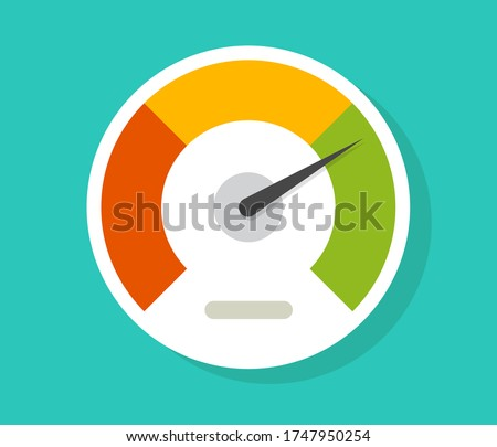 Speedometer gauge dial vector icon isolated or pressure progress power bar vector flat symbol, concept of scoring measure level indicator or performance scale meter modern design Stock photo ©