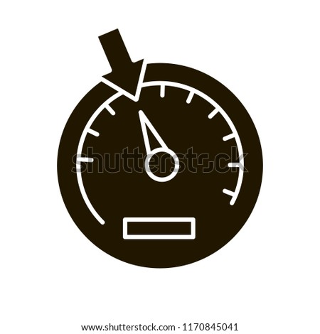 Speedometer glyph icon. Dashboard. Car instrument panel. Silhouette symbol. Negative space. Vector isolated illustration