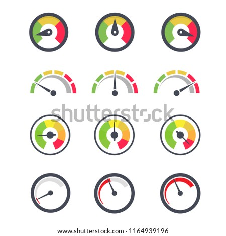 Speedometer icon, circular indicator of minimum and maximum gauge with various needle pointer