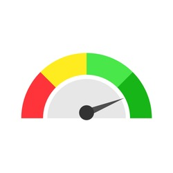 Speedometer icon or sign with arrow. Four color speedometer, vector