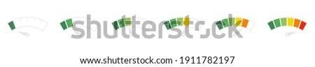 Speedometer icon set. Customer satisfaction indicator level. Risk level gauge. Info-graphic gauge Colorful info-graphic speedometer icon set. Productivity meter. Info-graphic icons set. Vector. EPS 10