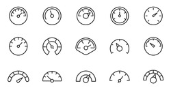 Speedometer icon set. Gauge, dashboard, indicator, scale. Vector thin line icons.