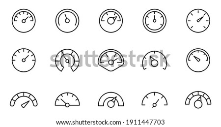 Speedometer icon set. Gauge, dashboard, indicator, scale. Vector thin line icons. ストックフォト ©