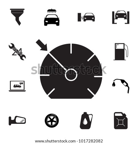 Speedometer Icon. Set of car repair icons. Signs, outline eco collection, simple icons for websites, web design, mobile app, info graphics on white background