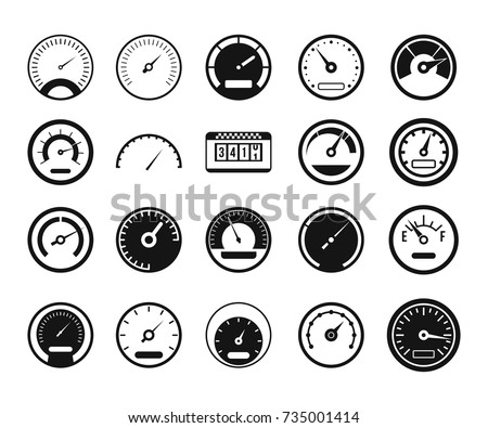 Speedometer icon set. Simple set of speedometer gauge dial vector icons for web design isolated on white background