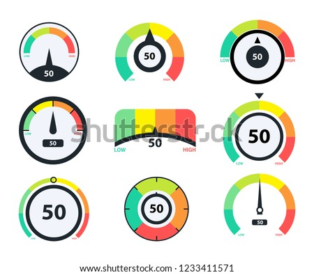 Speedometer icons. Business credit score vector speedometers. Different speed indicators