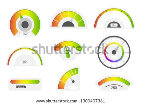 Speedometer icons. Credit score indicators. Speedometer goods gauge rating meter. Level indicator, credit loan scoring manometers vector set.