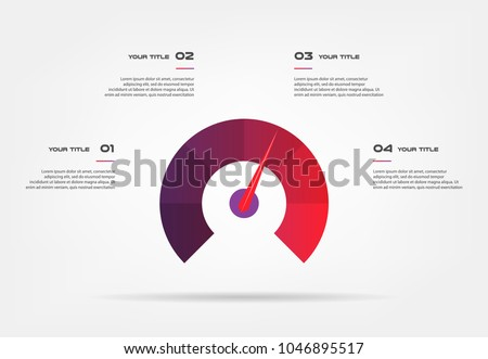 Speedometer infographics with circle. Element of chart, graph, diagram with 4 options - parts, processes, timeline. Vector business template for presentation, workflow layout, annual report - Shutterstock ID 1046895517