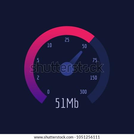 Speedometer Internet Speed 300 mb. Vector Illustration. Vector Icon.