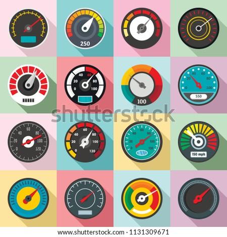 Speedometer level indicator icons set. Flat illustration of 16 speedometer level indicator vector icons for web