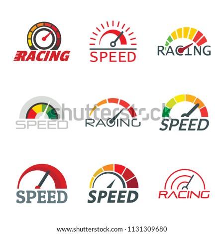 Speedometer level indicator logo set. Flat illustration of 9 speedometer level indicator vector logotypes for web