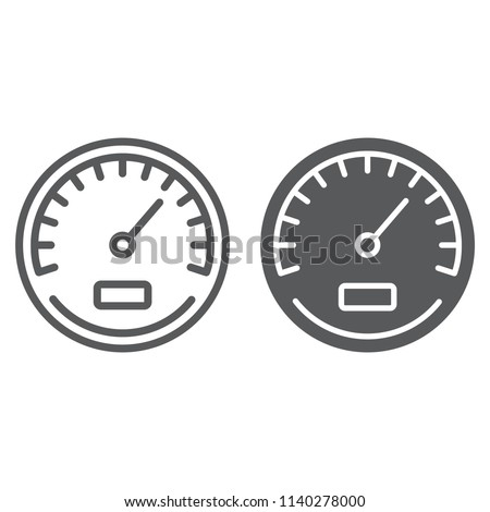 Speedometer line and glyph icon, data and analytics, velocity sign, vector graphics, a linear pattern on a white background, eps 10.
