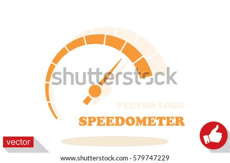 Speedometer logo icon vector illustration eps10. Isolated badge speedo flat design for website or app - stock graphics.
