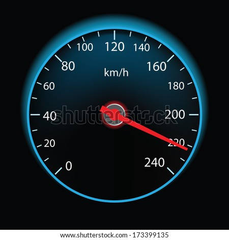Speedometer on black background (vector illustration) - stock vector
