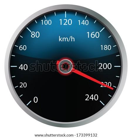 Speedometer on white background (vector illustration)