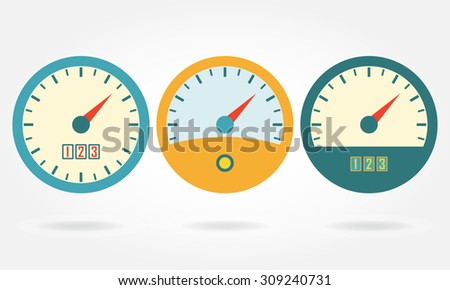 speedometer or gauge icons set