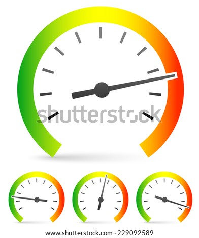 Speedometer or general gauge, dial template for measuring, comparison concepts. Vector icon.