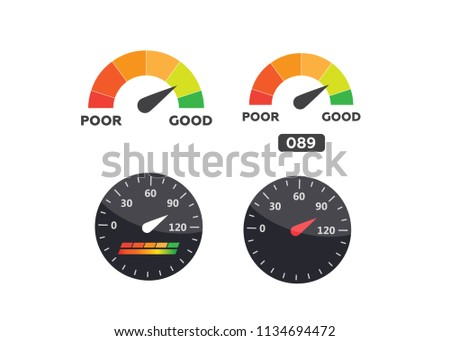 Speedometer, tachometer vector. Arrow score good indicator