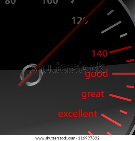 Speedometer vector with good great and excellent words