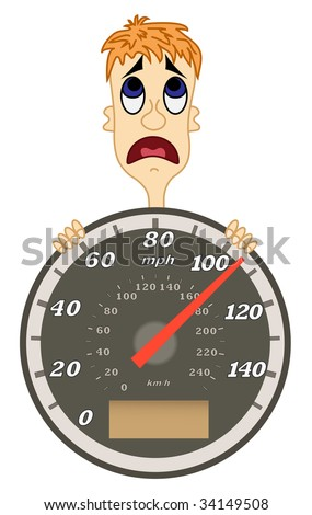 Speedometer with scared man. Isolated on white.