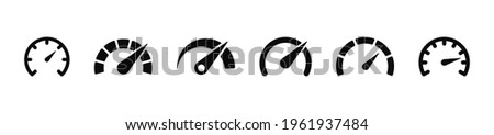 Speedometers icons set. Speed indicator sign. Performance concept. Fast speed sign. Vector illustration