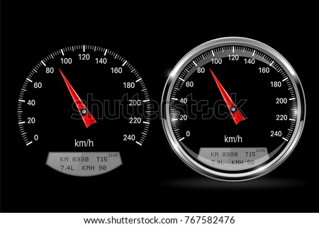 Speedometers. Round black gauge with and without chrome frame. Vector 3d illustration Сток-фото ©