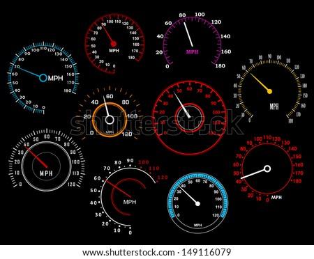 speedometers set isolated on