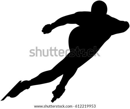 speedskater athlete speed skating ice arena turn black silhouette