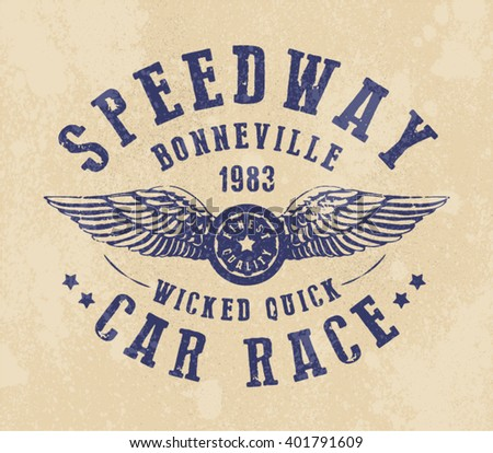 Speedway bonneville race print for t shirt or apparel old for Marathon t shirt printing