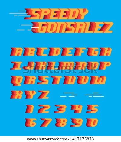 Speedy font alphabet letters sign racing quick type