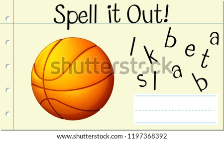 Spell it out basket ball illustration #1197368392