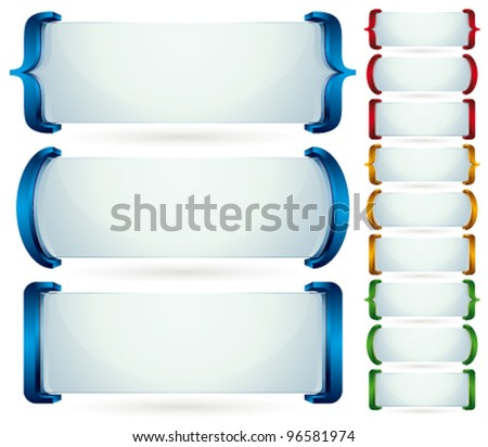 Spelling brackets for your text. 3d vector banners set. Collection of color and shape versions.