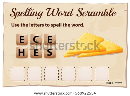 Spelling word scramble game template with word cheese illustration